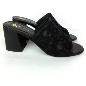 Born in California Black Embroidered Slide Heel